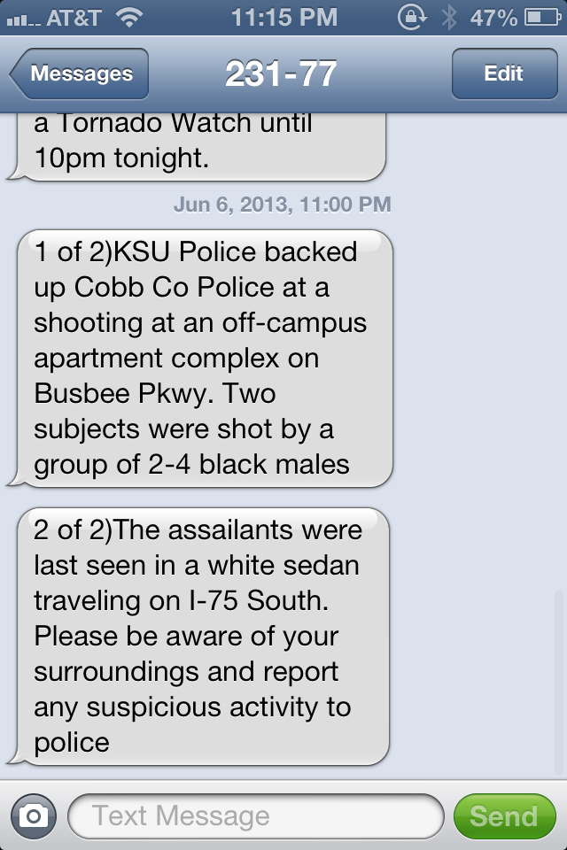 Shooting near Kennesaw State
