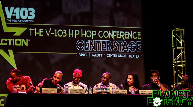 V103 / Footaction's  1st Panel from left to right: Jason Jetter, T.I., 2 Chainz, Chaka Zulu, Jennifer Drake, Saalam Remy, and Bu.