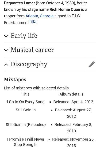 Rich Homie Quan mixtape titles.