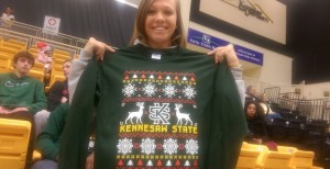 Ugly Christmas Sweaters were given away to fans at Kennesaw State on Monday