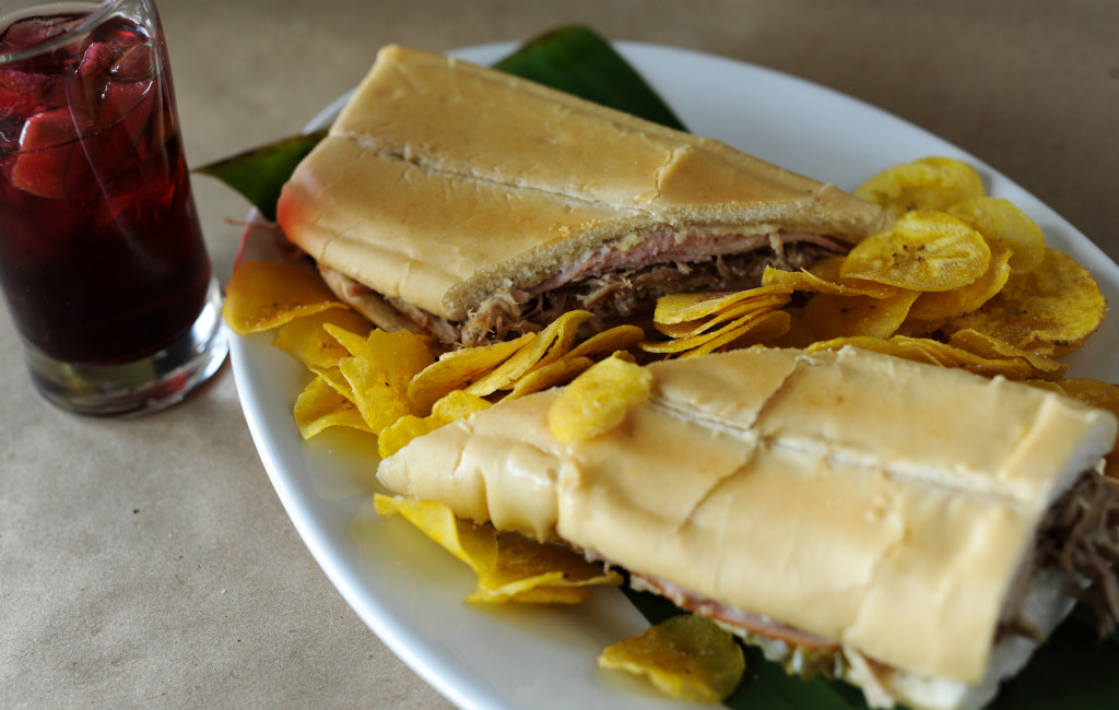 120413-ROSWELL-GA- Firstlook at Lazaro's Cuban Cuisine in Roswell on Friday, April 13, 2012.  FOOD: Cuban Sandwich with plantain chips.(BECKY STEIN/special)