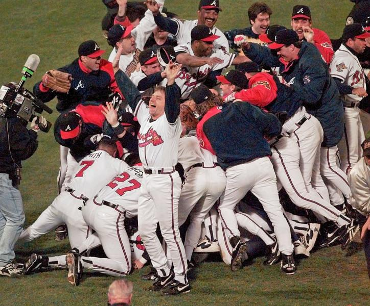 The Atlanta Braves celebrate after Game Six of the World Series Saturday, Oct. 28, 1995, in Atlanta.  The Braves beat the Cleveland Indians 1-0 to win the best-of-seven series 4-2. (AP Photo/Ed Reinke)