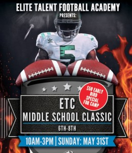 The Elite Football Camp for middle schoolers comes to Roswell on May 31