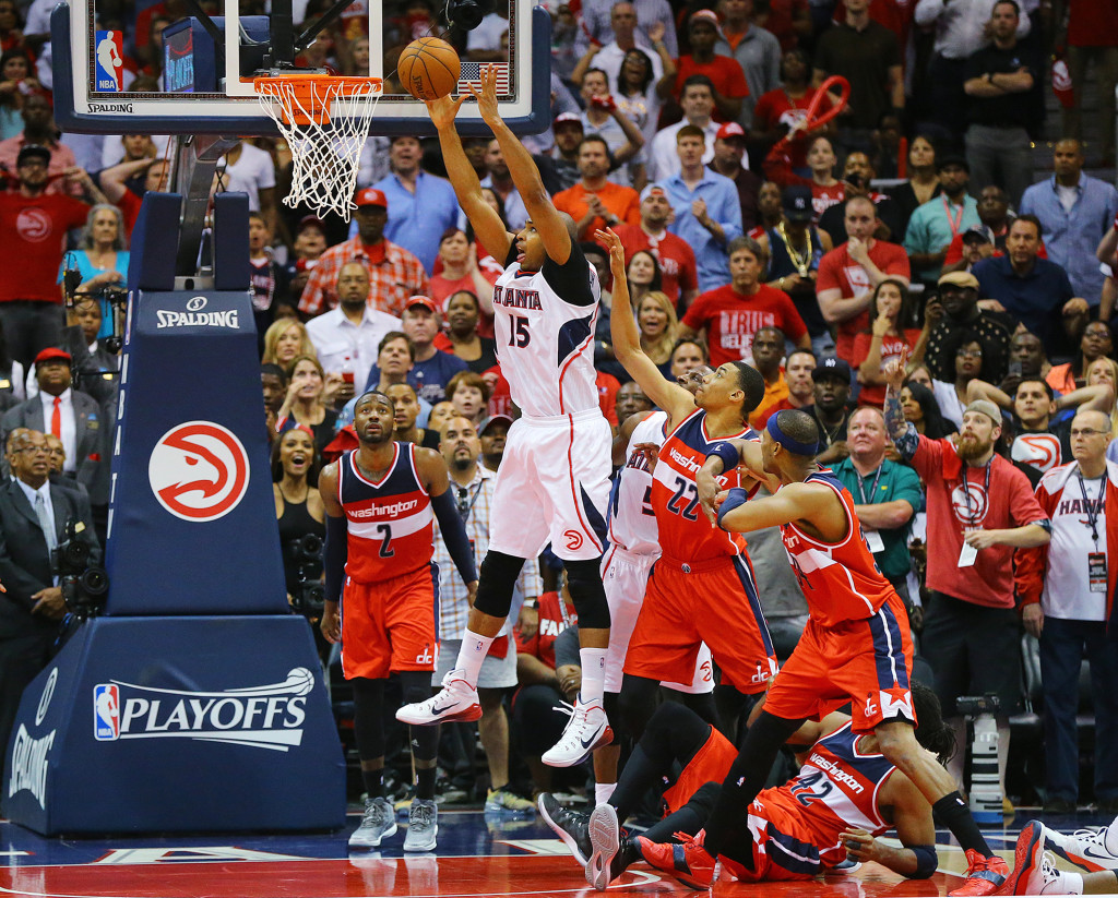 The Atlanta Hawks' Al Horford hits the game-winning shot to beat the Washington Wizards, 82-81, in Game 5 of the Eastern Conference semifinals on Wednesday, May 13, 2015, at Philips Arena in Atlanta. The win gives the Hawks a 3-2 series lead. (Curtis Compton/Atlanta Journal-Constitution/TNS)