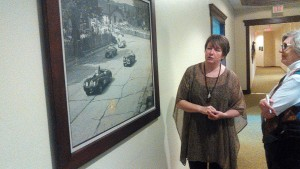 Lola Roeh of Osthoff Resort explains the history of motorsports in Elkhart Lake