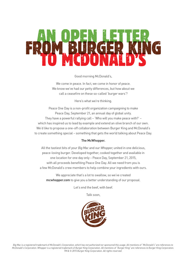 Burger King Open Letter