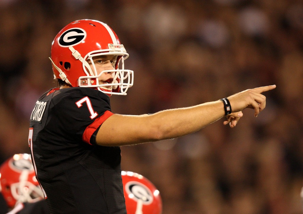ATHENS, GA - SEPTEMBER 27: Quarterback Matthew Stafford #7 of the Georgia Bulldogs points out assignments at the line of scrimmage while taking on the Alabama Crimson Tide at Sanford Stadium on September 27, 2008 in Athens, Georgia. Alabama defeated Georgia 41-30. (Photo by Doug Benc/Getty Images)