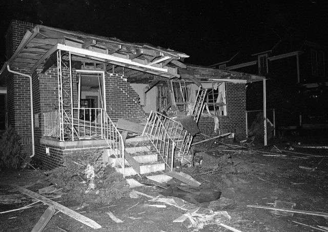 MLK's house after it was bombed in 1956