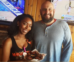 Chef Gregg Brickman, a beautiful Hooters Girl and the Smoked Wings