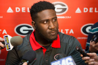 Georgia defensive lineman Julian Rochester conducts interviews during Signing Day at Butts-Mehre Heritage Hall on Wednesday, Feb. 3, 2016, in Athens, Ga. (Photo by David Barnes)