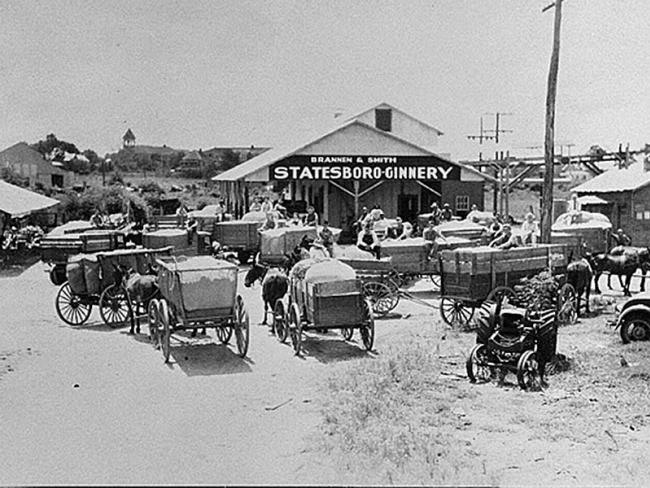 Cotton was taken to the Brannen and Smith Statesboro Ginnery by truck and wagon in the early 1900s.