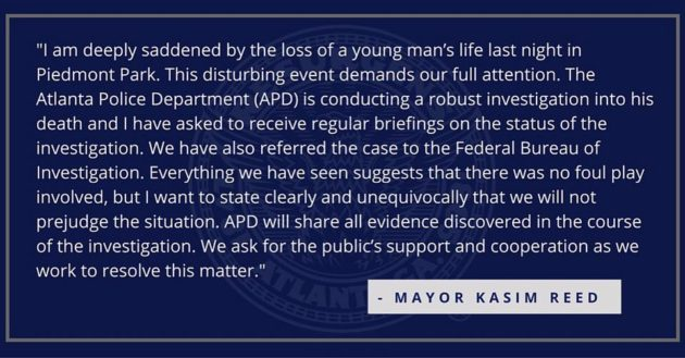 Kasim Reed's statement on Piedmont hanging