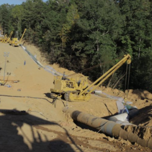 Colonial Pipeline bypass segment being prepared for tie in to Line 1