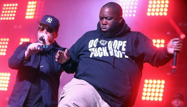 Photo from Uproxx. Run the Jewels performs onstage during day 2 of the 2015 Coachella Valley Music And Arts Festival (Weekend 2) at The Empire Polo Club on April 18, 2015 in Indio, California.