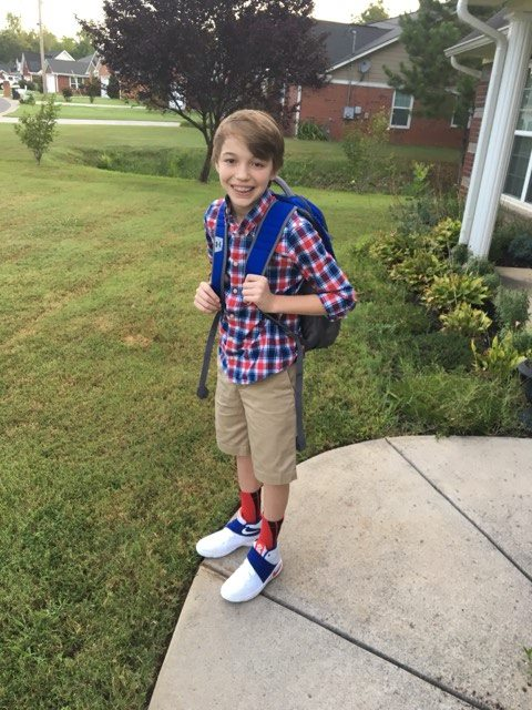 Brayden Cooper on the first day of 8th grade at Coosa Middle School